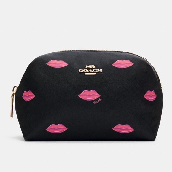 NWT COACH Small Boxy Cosmetic Case With Lips Print